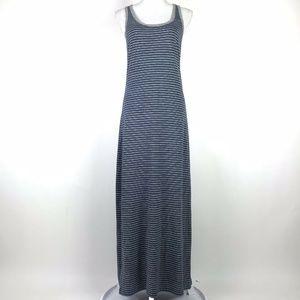Lou & Grey Maxi Dress Blue White Gray Linen Blend